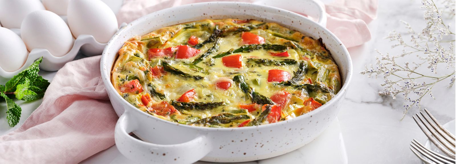 Roasted Asparagus and Pepper Crustless Quiche