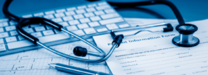 Medical professional tools with blue overlay
