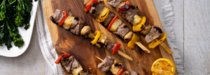 Beef and halloumi skewers