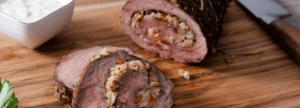 Surf & Turf Rolled Roast Beef with Horseradish Herb Sauce