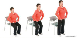Woman sitting and standing up
